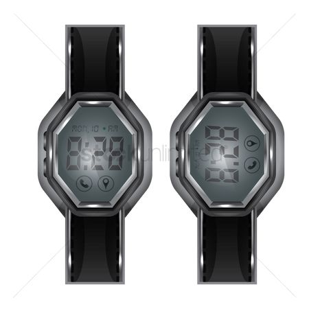 Wristwatch : A pair of digital watches