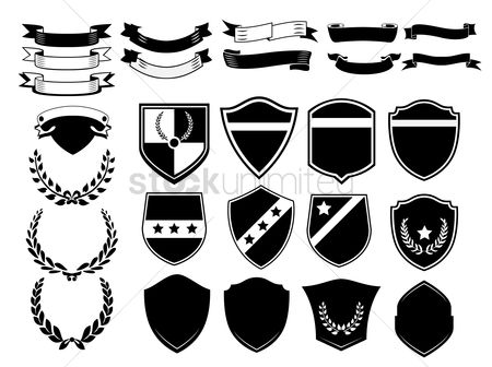Shield : A set of banners  badges and laurels