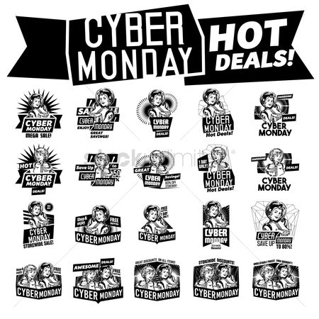 Monday : A set of cyber monday labels