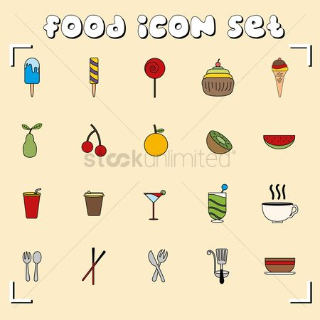 Soda drink : A set of food icons