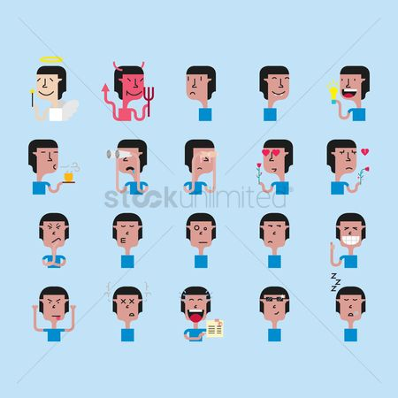 Devils : A set of male emoticon showing various facial expressions and actions