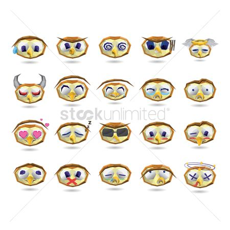 Horns : A set of owl emoticon showing various facial expressions