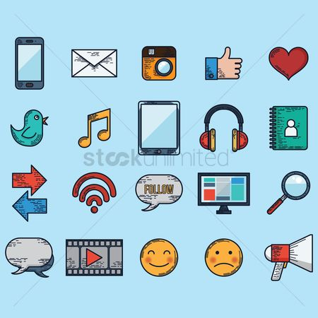 Broadcasting : A set of social media icons