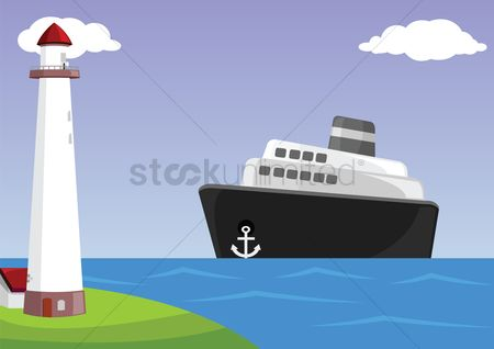 Lighthouses : A ship and lighthouse