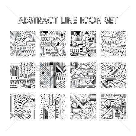 Mountains : Abstract line icon set