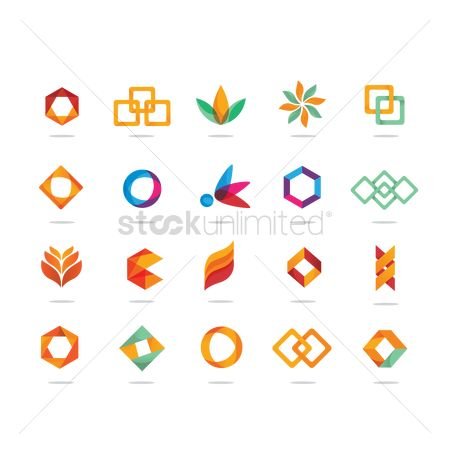 Graphic : Abstract logo element set