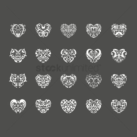 Hearts : Abstract tattoo design set