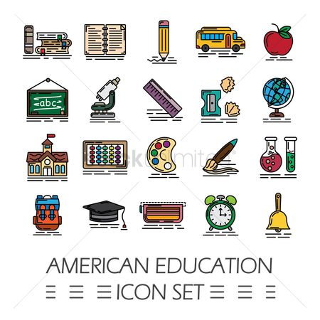 Supply : American education icon set