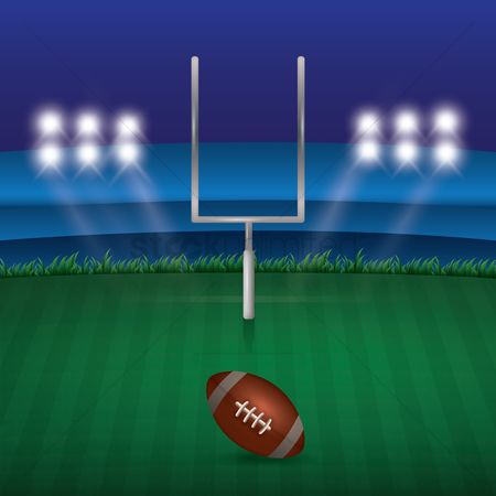 Rugby ball : American football field