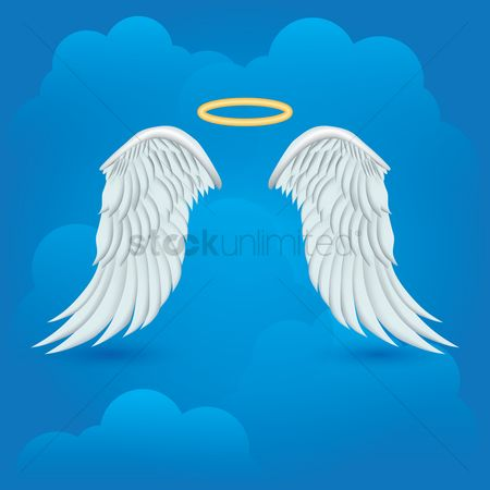 Halo : Angel wings with halo on cloud background