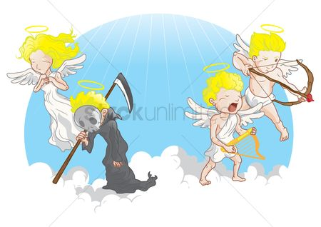 Halo : Angel with grim reaper and cupid