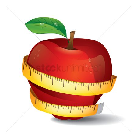 Healthy eating : Apple with measuring tape