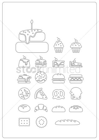 Biscuit : Assorted bakery icons