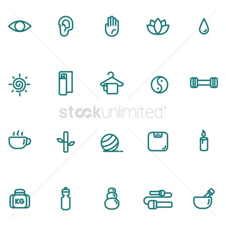 Zen : Assorted exercise and zen icon set