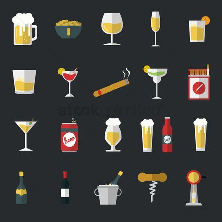 Beer mug : Assorted food and drink icons