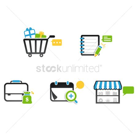 Market : Assorted icons with chat bubble