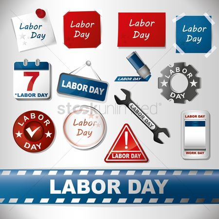 Sticky note : Assorted labor day set