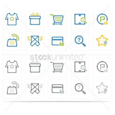 E commerces : Assorted shopping icons