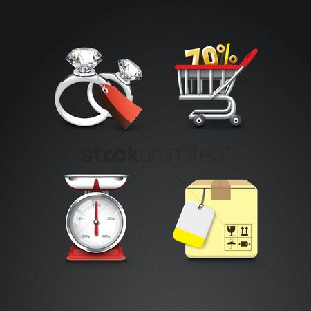 Jewelleries : Assorted shopping icons
