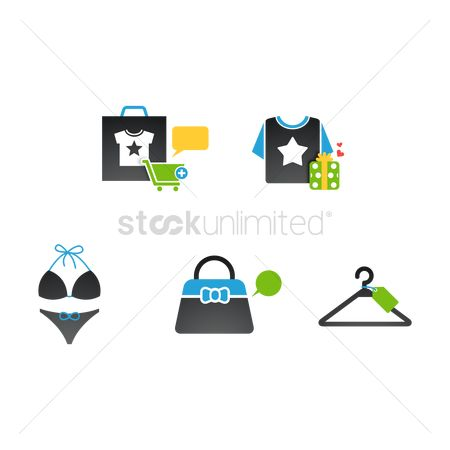 Bikinis : Assorted shopping icons