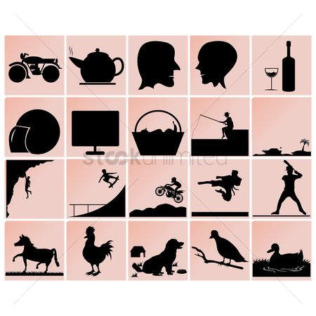 Baseball : Assorted silhouettes