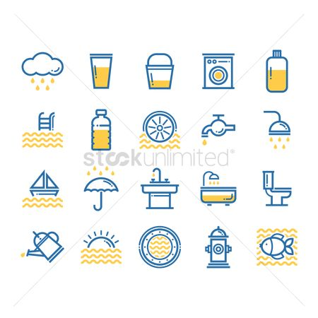 Washing machine : Assorted water icons set