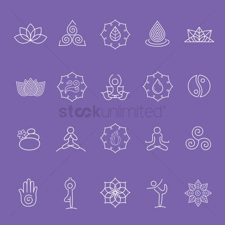 Zen : Assorted yoga symbol set