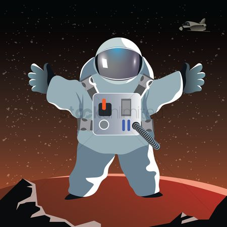 Cosmonauts : Astronauts with arms outstretched on a planet