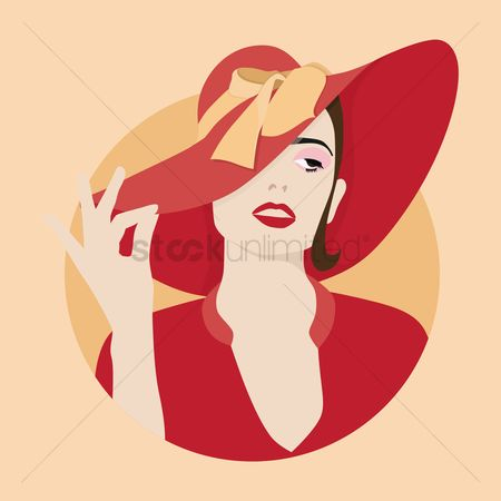 Red : Attractive woman in elegant hat