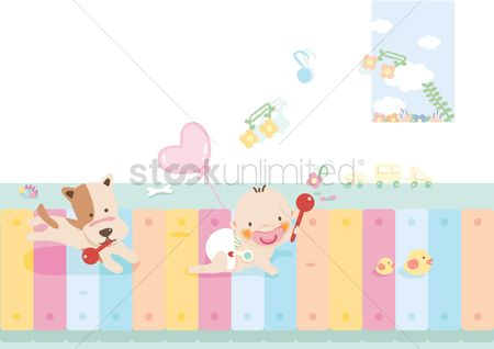 Play kids : Baby and dog holding a rattle