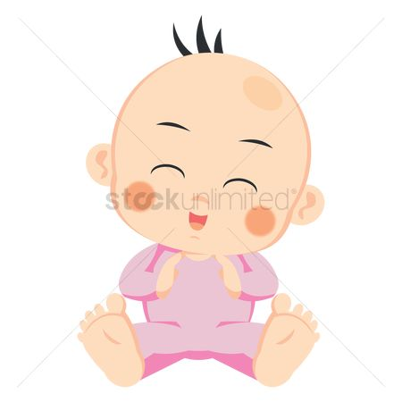 Play kids : Baby hands together with closed eyes