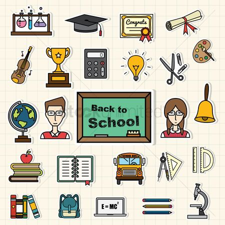 School children : Back to school icons