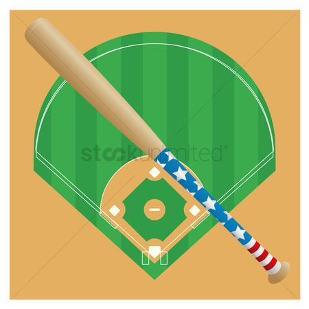 Baseball : Baseball bat against the baseball field