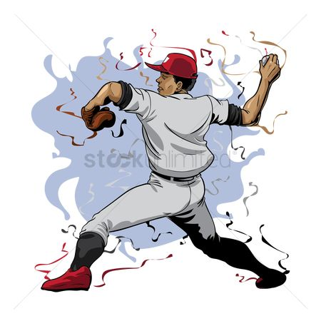 Recreation : Baseball player throwing ball