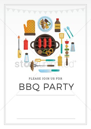 Brushes : Bbq party invitation