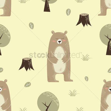 Animal : Bear wrapping paper design