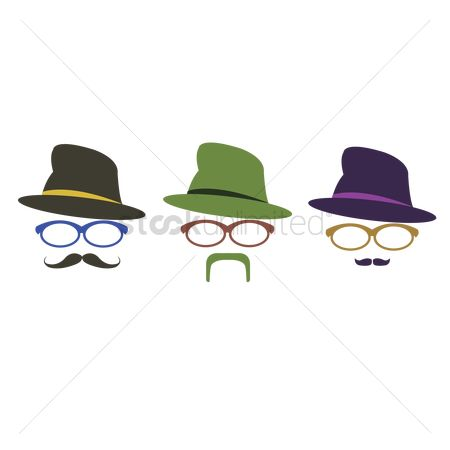 Moustache : Bearded man with hat and spectacles