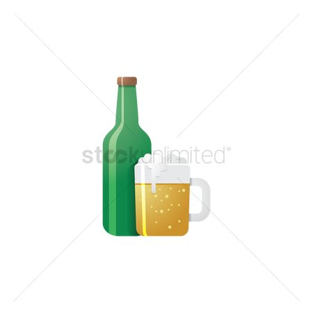 Pub : Beer mug and bottle