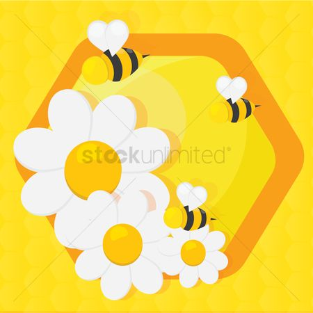 Honeycomb : Bees with flowers