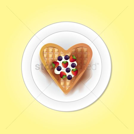 Blueberry : Belgium heart shaped waffle