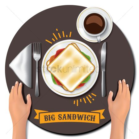 Fork : Big sandwich on table with hands
