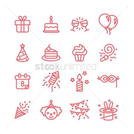 Slices : Birthday icons set