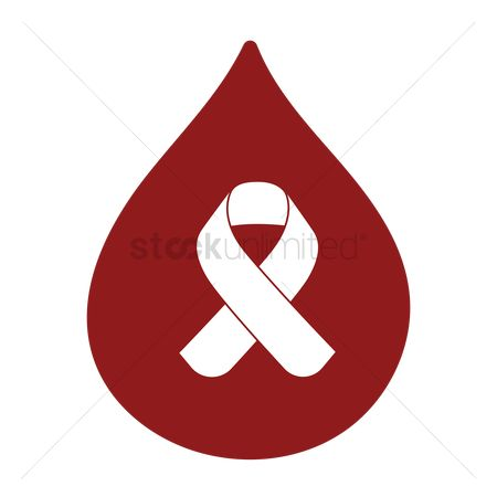 Aware : Blood drop with diabetes ribbon