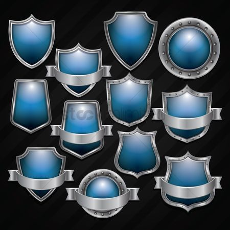 Silver : Blue shield emblem collection