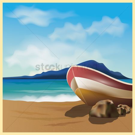 Islands : Boat on a beach