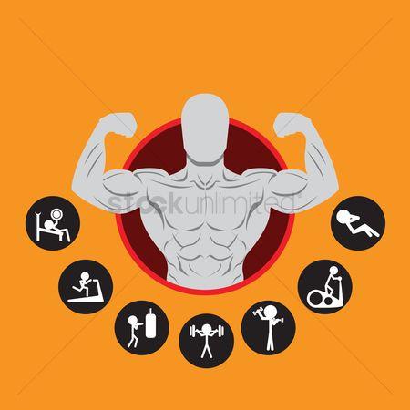 Dumb bell : Bodybuilder mascot icons