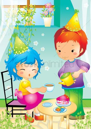Flower pot : Boy and girl having tea