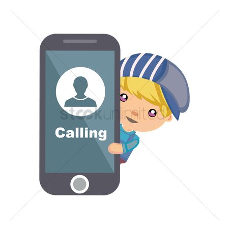 Calling : Boy holding phone