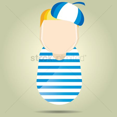 Beret : Boy in beret and striped shirt