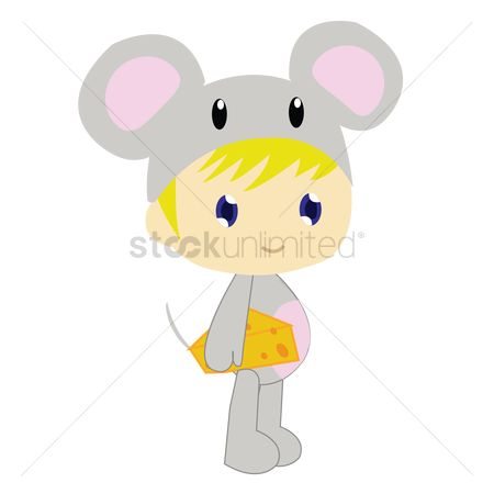 Background : Boy in mouse costume on white background
